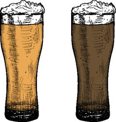 Sketch two mugs light and dark beer Octoberfest vector image