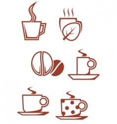 tea and coffee symbols vector image vector image