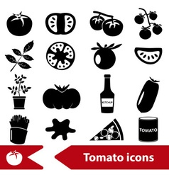 tomatoes theme black simple icons set eps10 vector image vector image