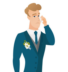 young caucasian groom crying vector image vector image