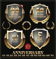 Anniversary gold design element collection vector image vector image