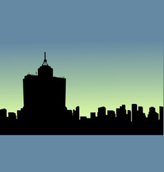 at sunrise mexico city scenery silhouettes vector image