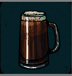 retro style beer mug cup or glass engraving vector image vector image