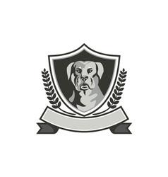 Rottweiler Head Laurel Leaves Crest Black and vector image vector image