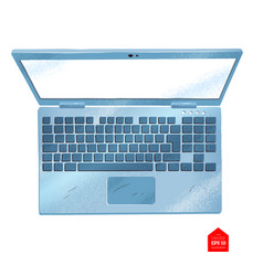 top view of laptop computer vector image