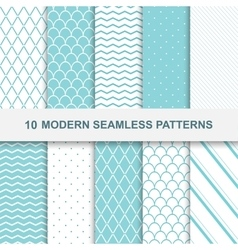10 modern seamless patterns vector image