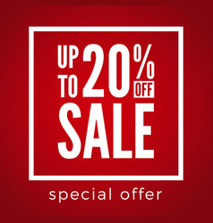 20 percent off sale discount on red background vector