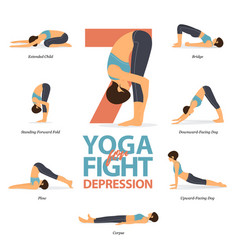 7 yoga poses for concept fight for depression vector