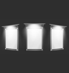 Acrylic poster blank glass frame with illumination vector