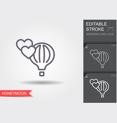 air balloon and hearts line icon with shadow and vector image