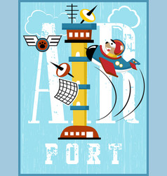 Airport control tower cartoon with funny pilot vector