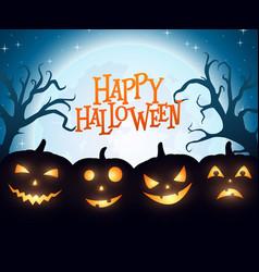 banner cartoon halloween pumpkins on blue backgrou vector image