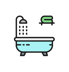 bathtub flat color line icon isolated on white vector image