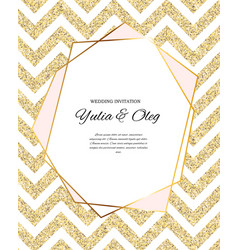 Beautifil wedding invitation with golden glitter vector