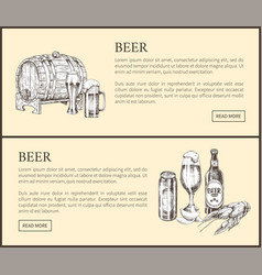 Beer barrel bottle can glass and snack landing vector