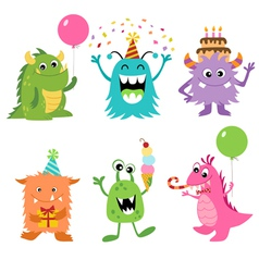 Birthday monsters vector image