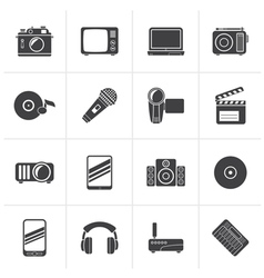 Black Media and technology icons vector image vector image