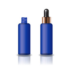 blue clear cosmetic round bottle with dropper lid vector image