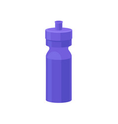 Bright blue plastic reusable water bottle drink vector