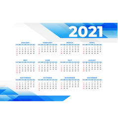 Business style 2021 new year calendar template vector