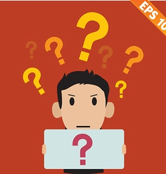 businessman with question marks - - EPS10 vector image