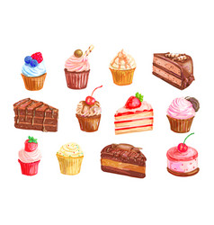 Cake and cupcake dessert watercolor set design vector