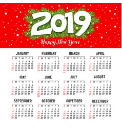 calendar new year 2019 red design template vector image