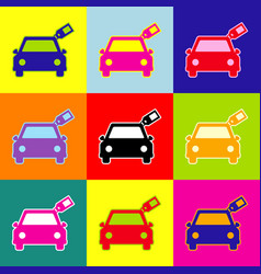 car sign with tag pop-art style colorful vector image