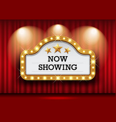 Cinema theater and sign light up curtains red vector