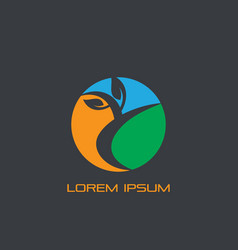 circle leaf eco business logo vector image