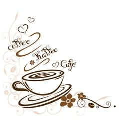 Coffee cafe border floral vector