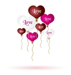 Colorful helium balloons heart shape with text and vector