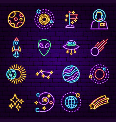 cosmic neon icons vector image