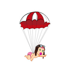 Cute cartoon baby girl in pilot hat with parachute vector