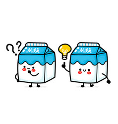 Cute funny milk box with question mark and idea vector