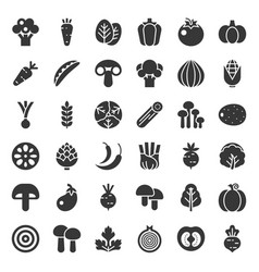 Cute vegetable icon set solid style vector