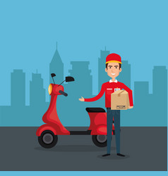 Delivery service worker character vector