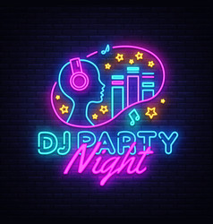 Dj party neon sign night party design vector