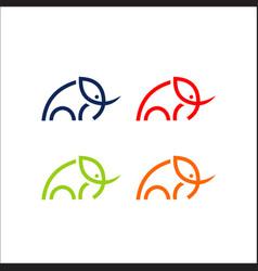 elephant logo line art vector image