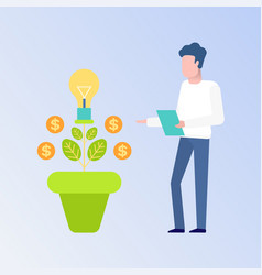 employee and money tree finance decoration vector image