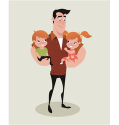 Father and kids vector