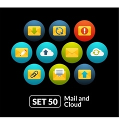 Flat icons set 50 - mail and cloud collection vector