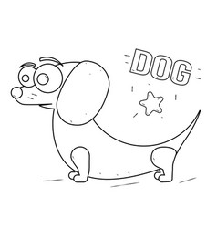 funny and friendly cartoon dog coloring book for vector image