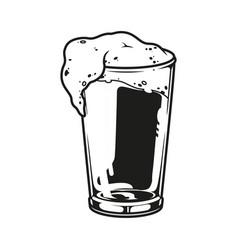 Glass full fresh beer template vector