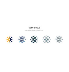 Gods shield icon in different style two colored vector