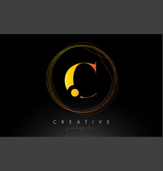 Gold artistic c letter logo design with creative vector
