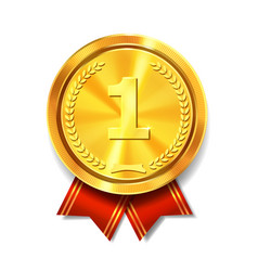golden medal with red ribbon first place award vector image