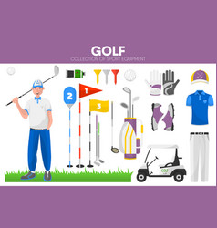 Golf sport equipment golfer player garment vector
