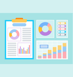 graphics and charts business statistical data vector image