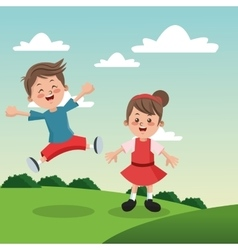 Group of happy boys and girls cartoon kids vector